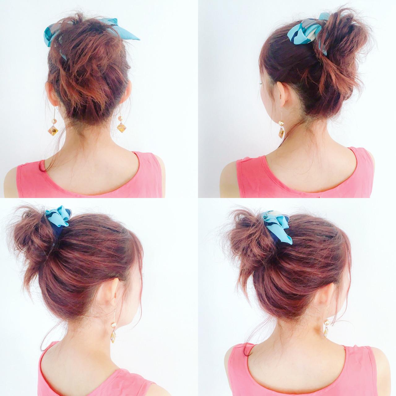 ヘアアクセ ヘアアレンジ ルーズ お団子 ヘアスタイルや髪型の写真・画像