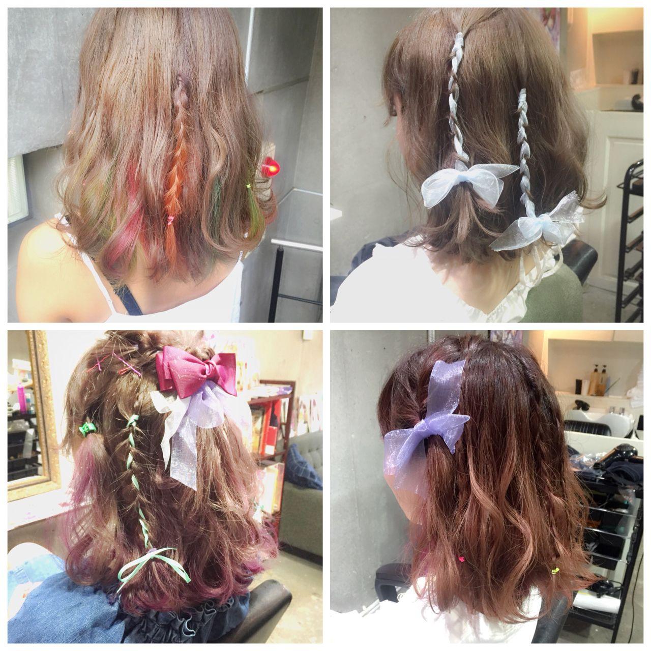 ヘアアレンジ ゆるふわ ミディアム フェミニン ヘアスタイルや髪型の写真・画像
