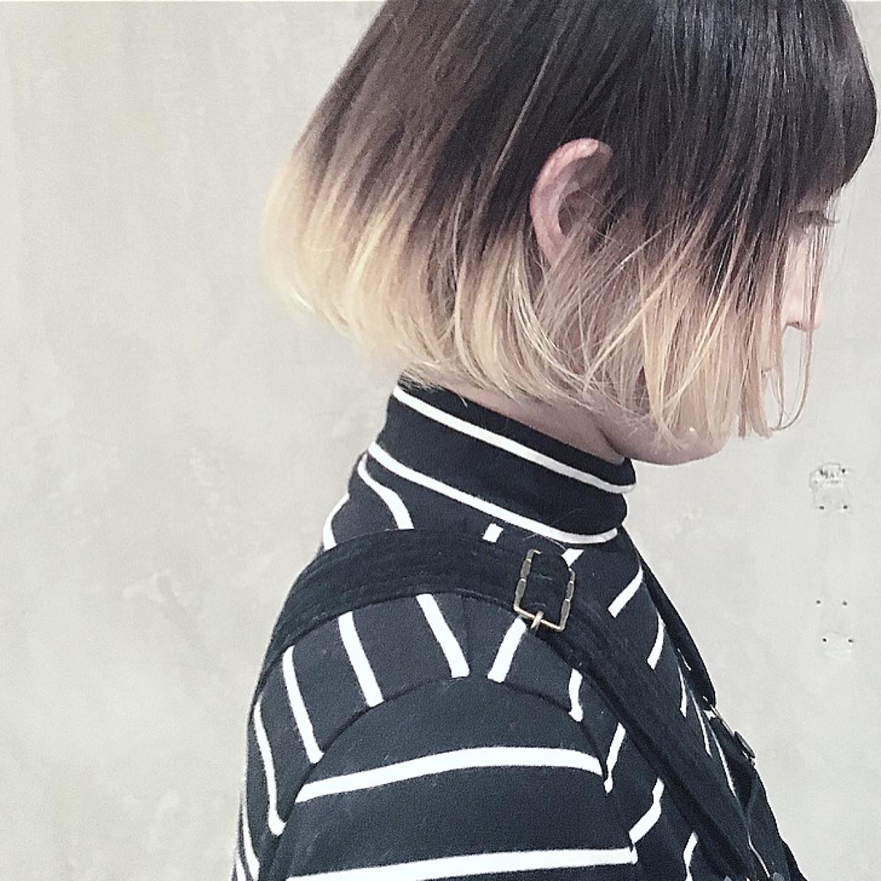 ボブ ダブルカラー グラデーションカラー ショートボブ ヘアスタイルや髪型の写真・画像
