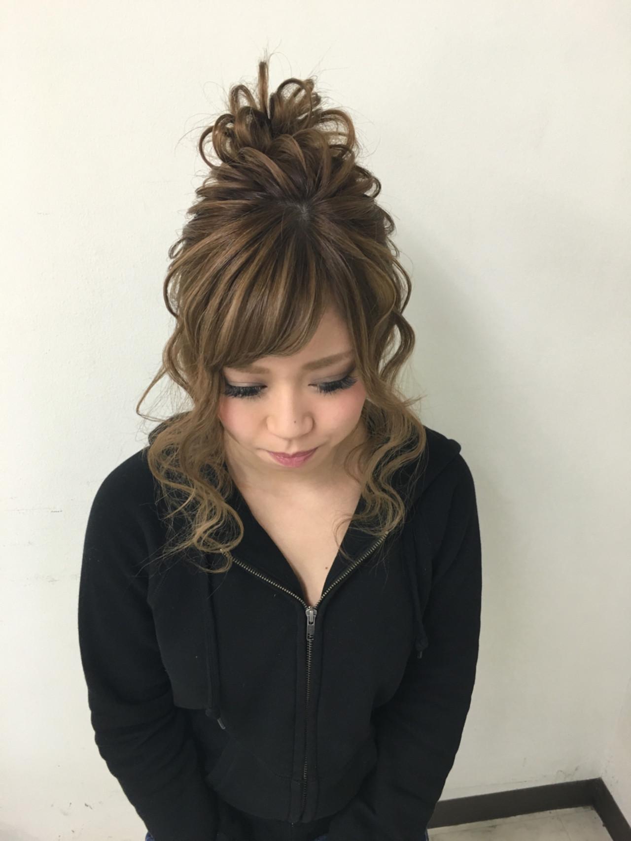 ヘアアレンジ ミディアム お団子 ヘアスタイルや髪型の写真・画像