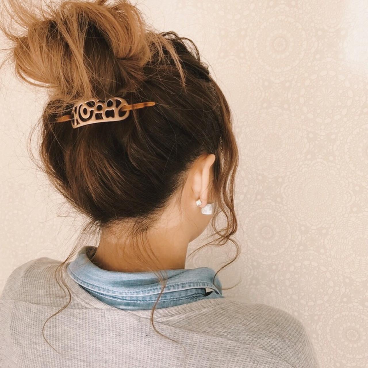 波ウェーブ デート お団子 ヘアアレンジ ヘアスタイルや髪型の写真・画像