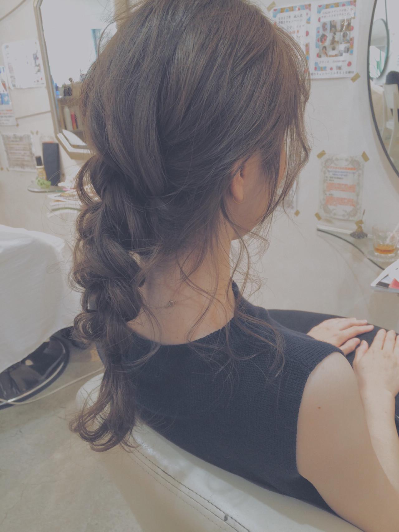 ヘアアレンジ 簡単ヘアアレンジ 三つ編み ナチュラル ヘアスタイルや髪型の写真・画像