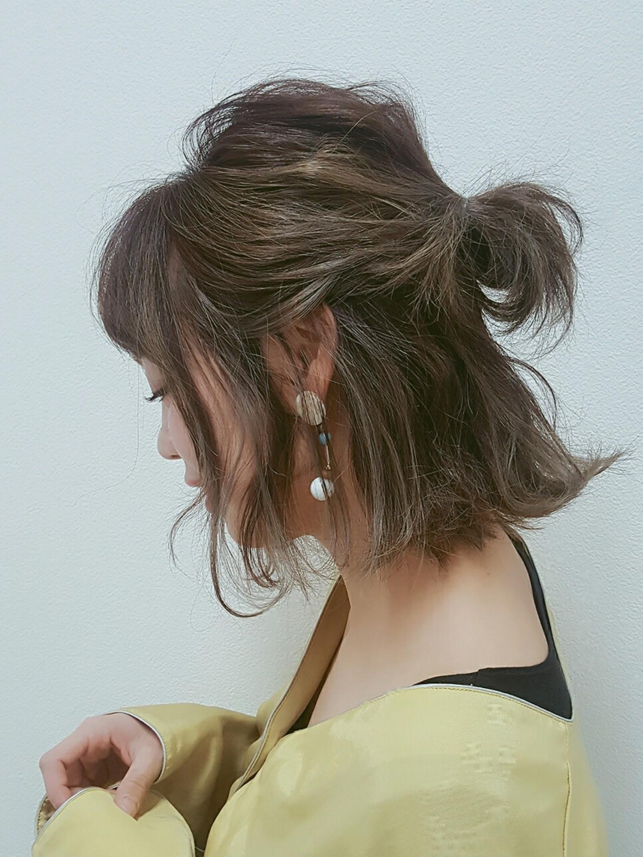 セミロングは、まとめ髪でバージョンアップ!マンネリにならないまとめ髪特集 Naoko Miura