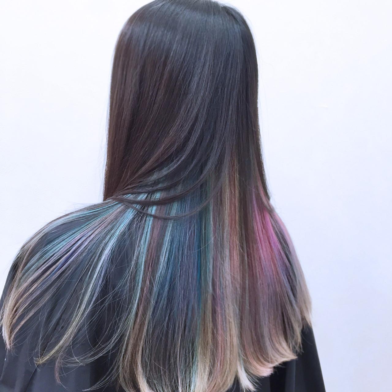 グラデーションカラー ロング インナーカラー カラフルカラー ヘアスタイルや髪型の写真・画像