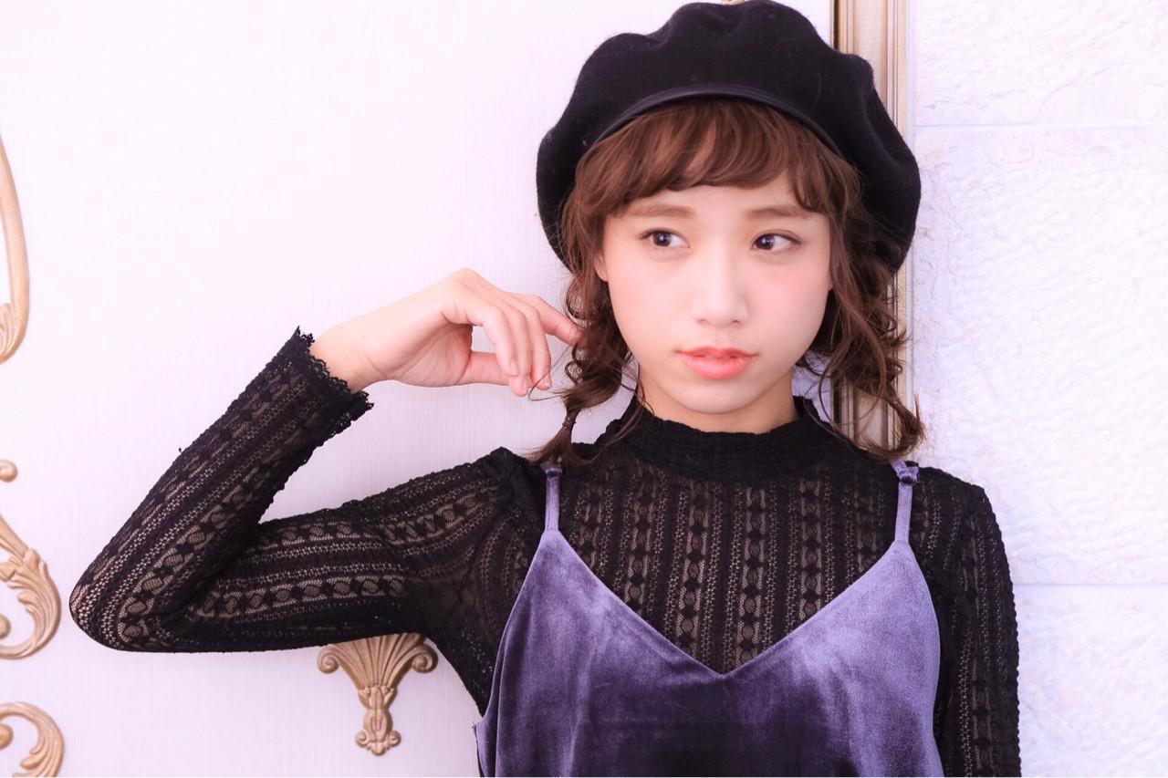 ミディアム ショート ベレー帽 大人女子 ヘアスタイルや髪型の写真・画像