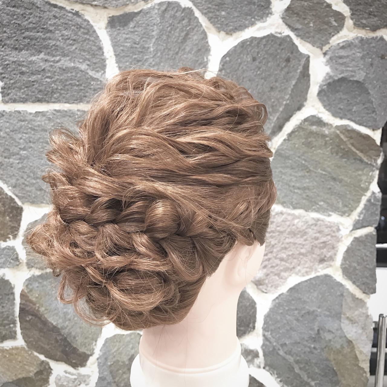 波ウェーブ 大人女子 セミロング 編み込み ヘアスタイルや髪型の写真・画像