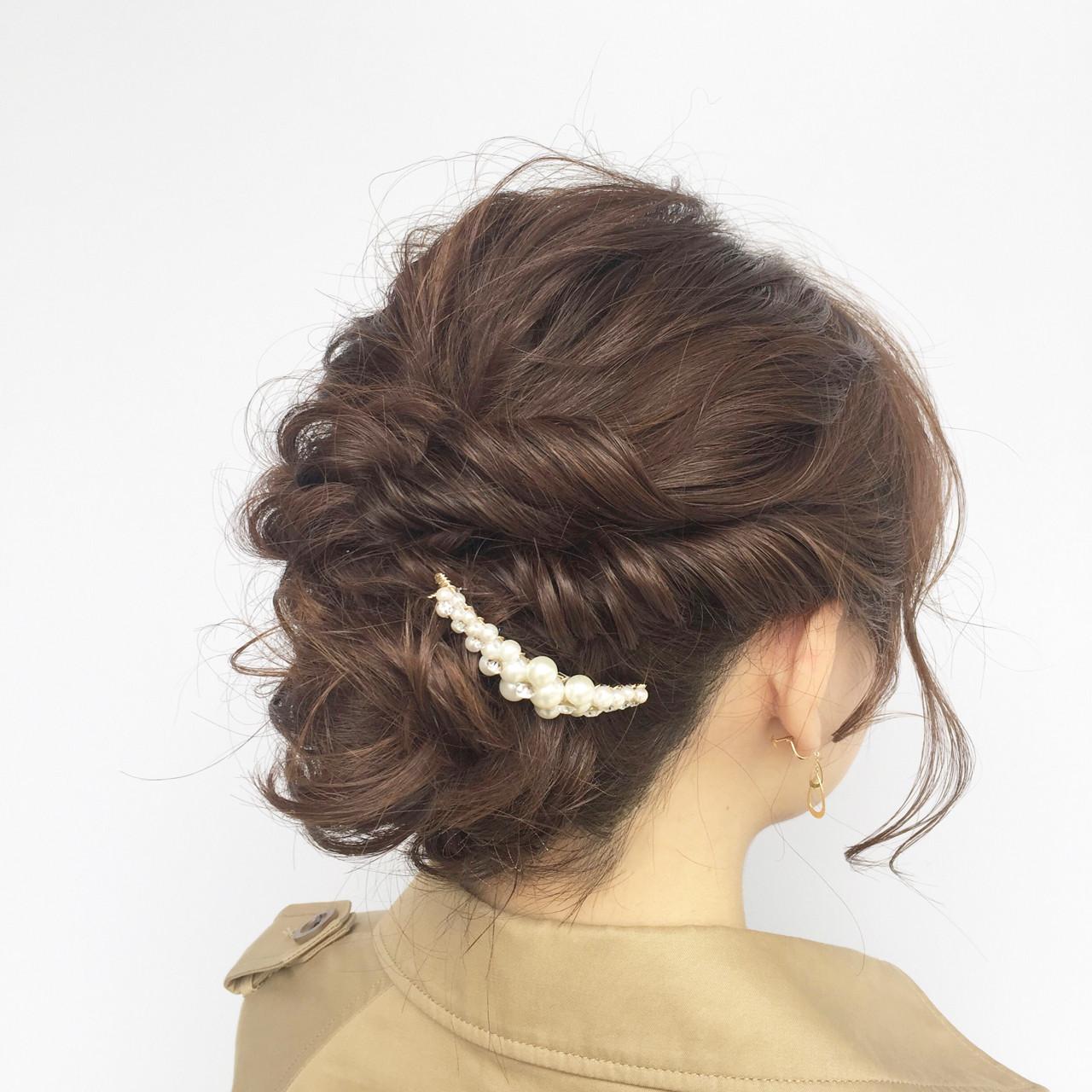 ヘアアレンジ ガーリー ボブ 結婚式 ヘアスタイルや髪型の写真・画像