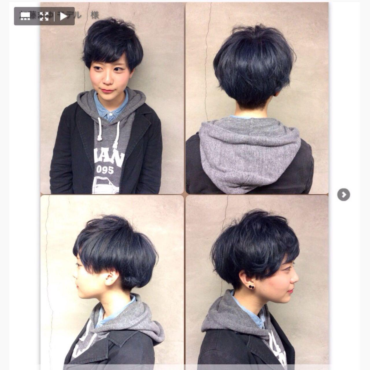 黒髪 卵型 刈り上げ アッシュ ヘアスタイルや髪型の写真・画像