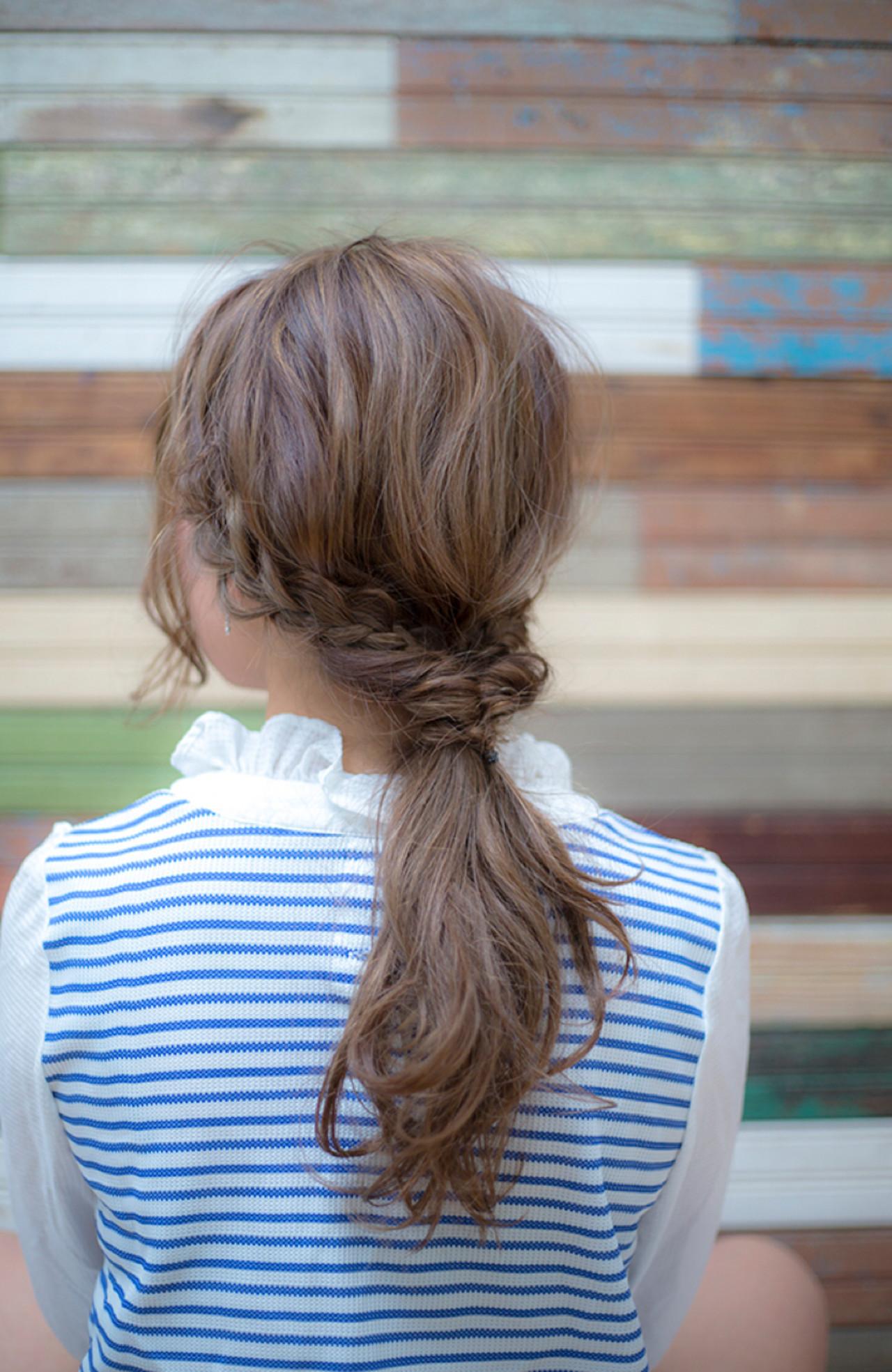 簡単ヘアアレンジ ショート ロング ローポニーテール ヘアスタイルや髪型の写真・画像