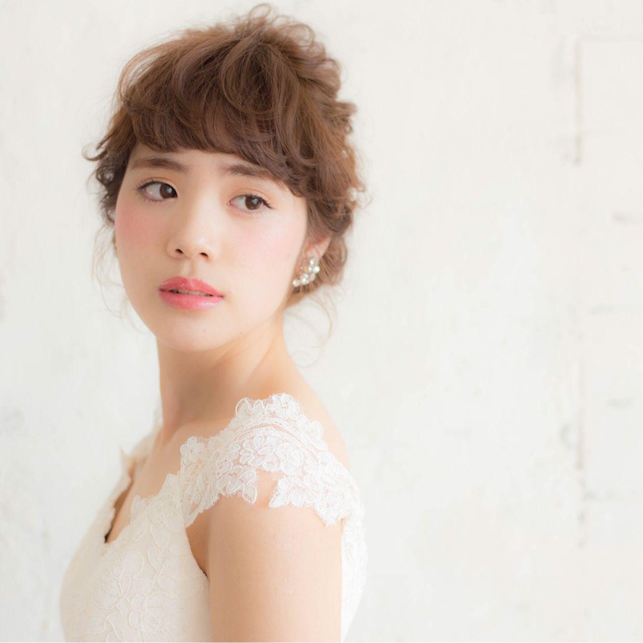 ヘアアレンジ ミディアム 結婚式 ヘアスタイルや髪型の写真・画像