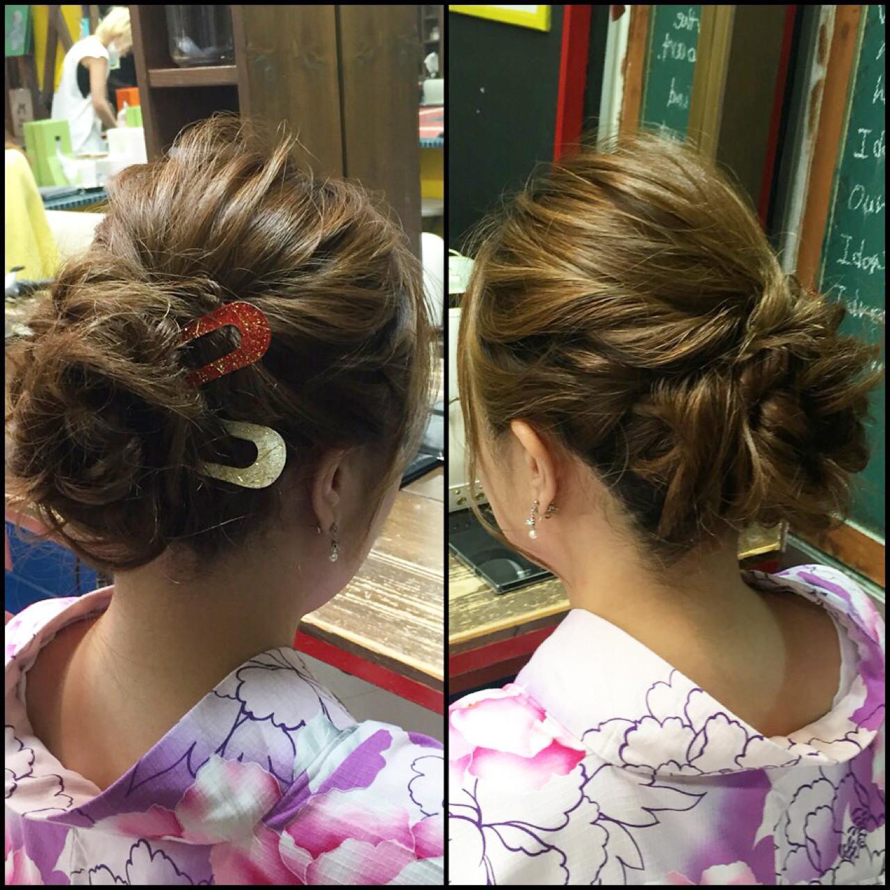 和装 アップスタイル ゆるふわ ヘアアレンジ ヘアスタイルや髪型の写真・画像