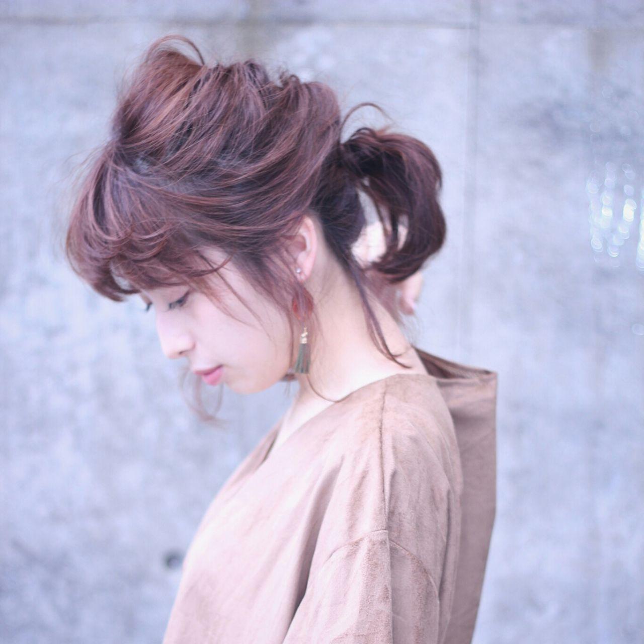 パーティ ポニーテール フェミニン ミディアム ヘアスタイルや髪型の写真・画像