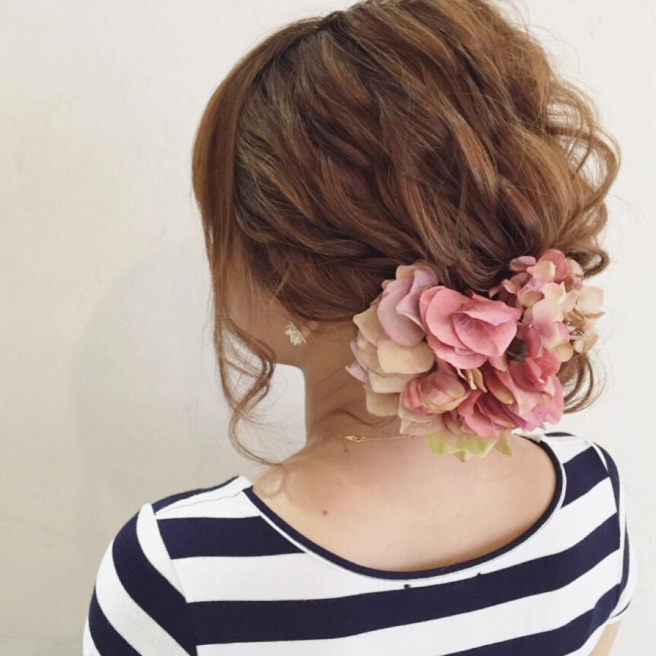 花火大会 ロング アップスタイル 夏 ヘアスタイルや髪型の写真・画像
