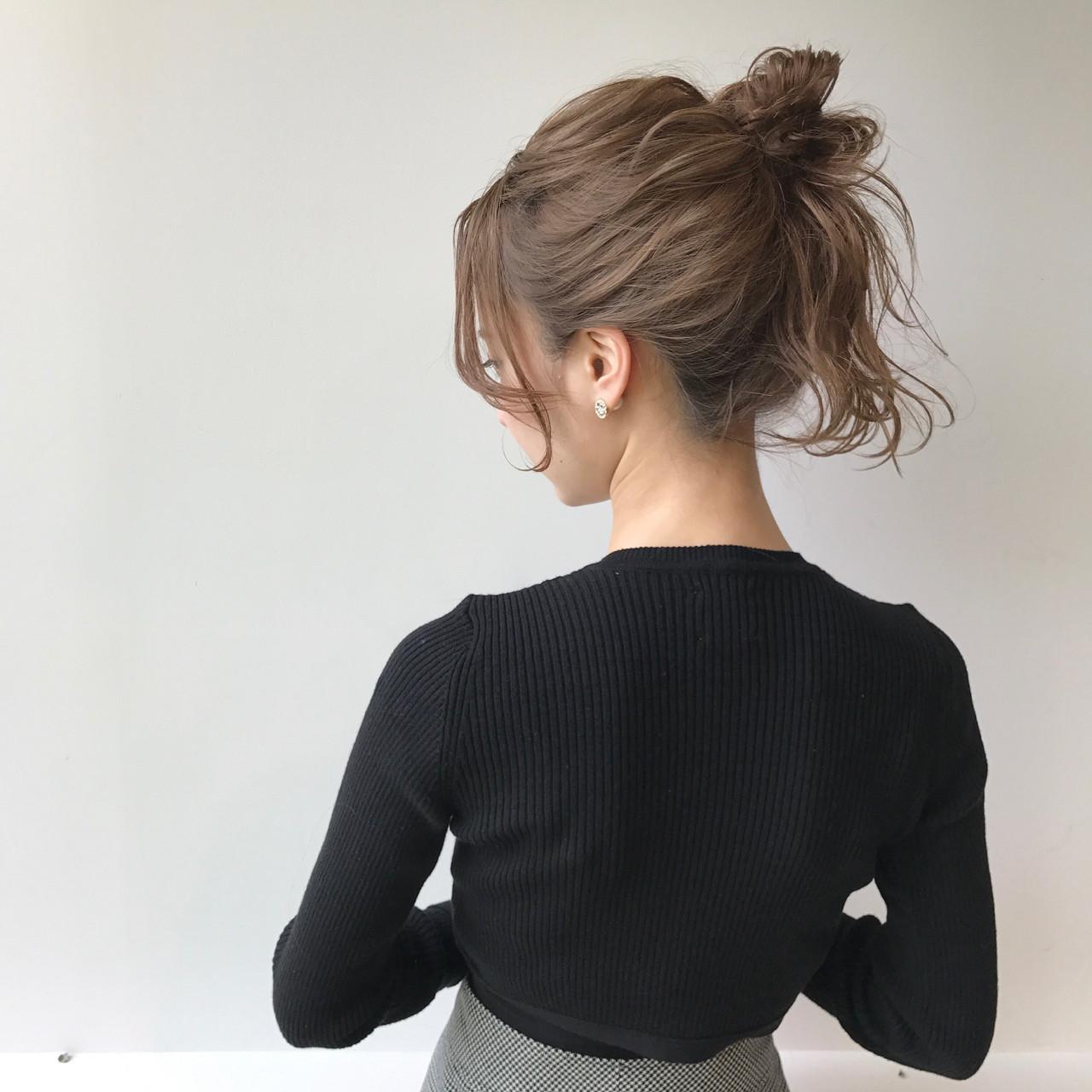 ミルクティー ナチュラル 簡単ヘアアレンジ ショート ヘアスタイルや髪型の写真・画像