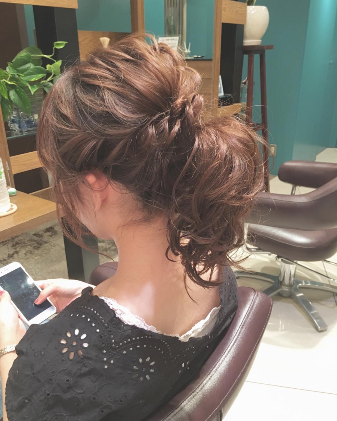 ゆるふわ 結婚式 ミディアム ポニーテール ヘアスタイルや髪型の写真・画像