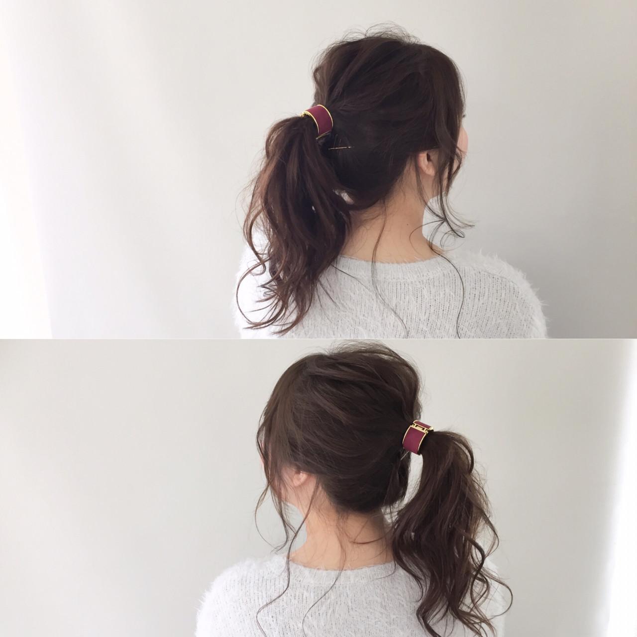 大人女子 ポニーテール ガーリー セミロング ヘアスタイルや髪型の写真・画像