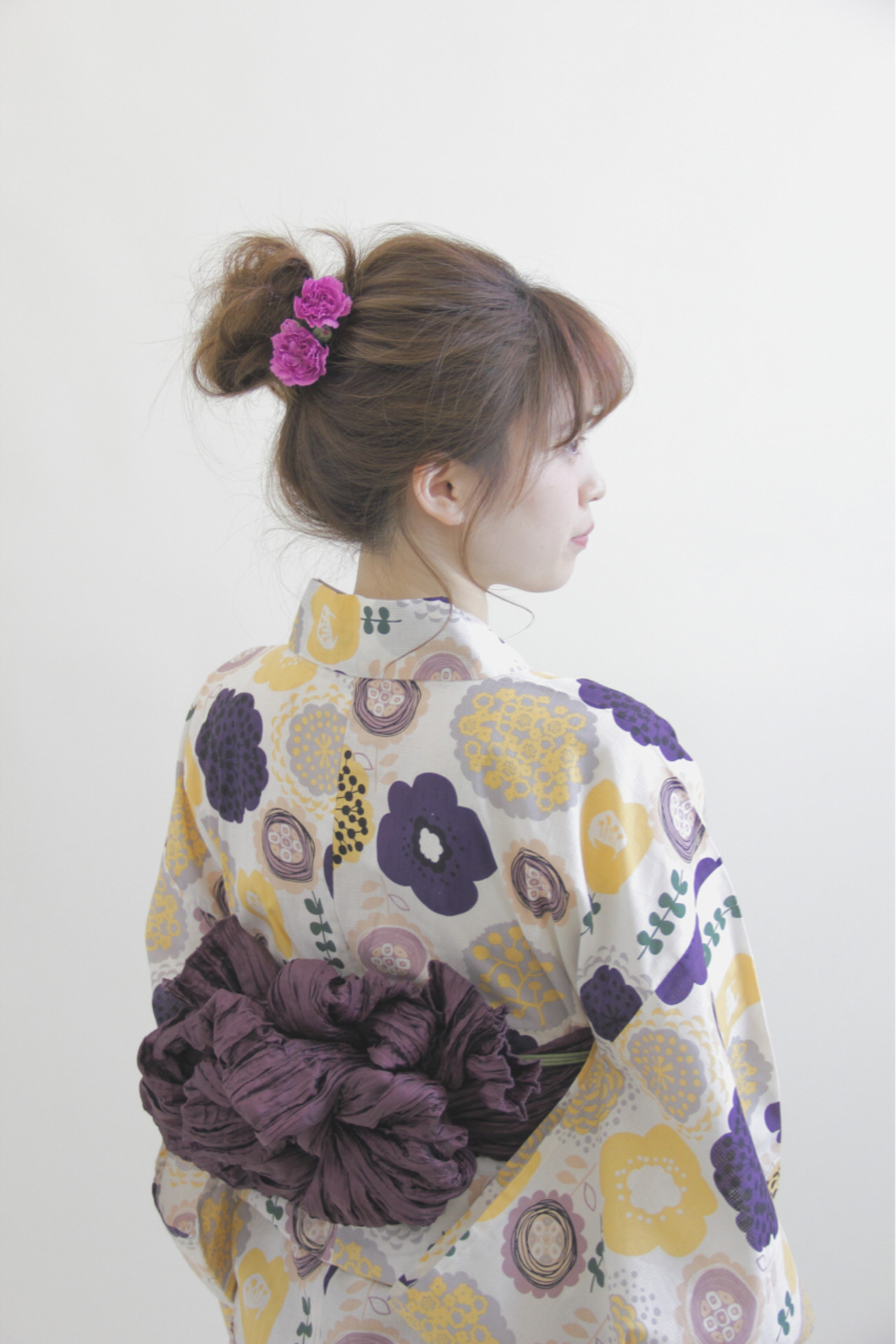 夏 和装 お団子 メッシーバン ヘアスタイルや髪型の写真・画像