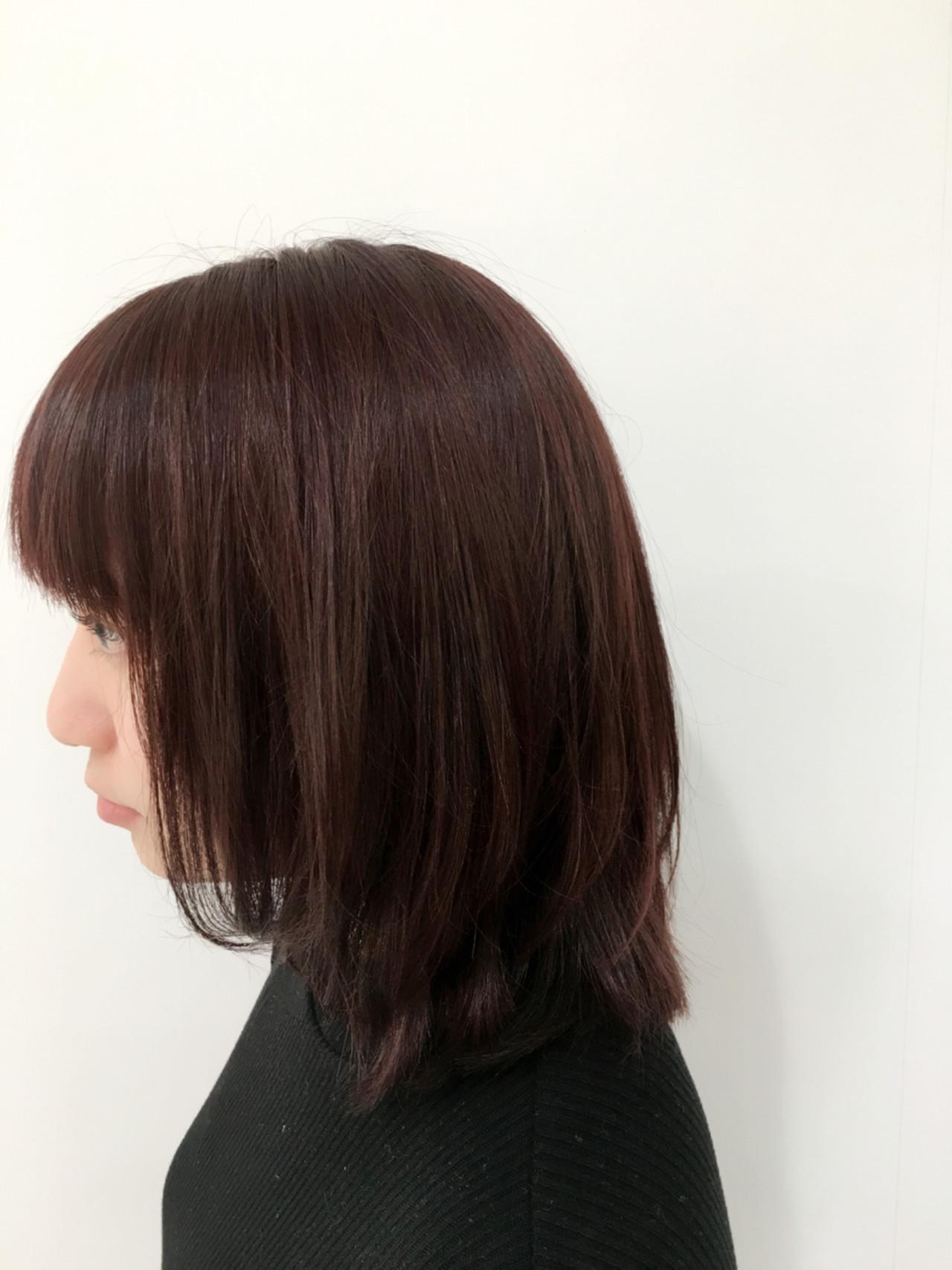 ミディアム イルミナカラー ピンクアッシュ ベリーピンク ヘアスタイルや髪型の写真・画像