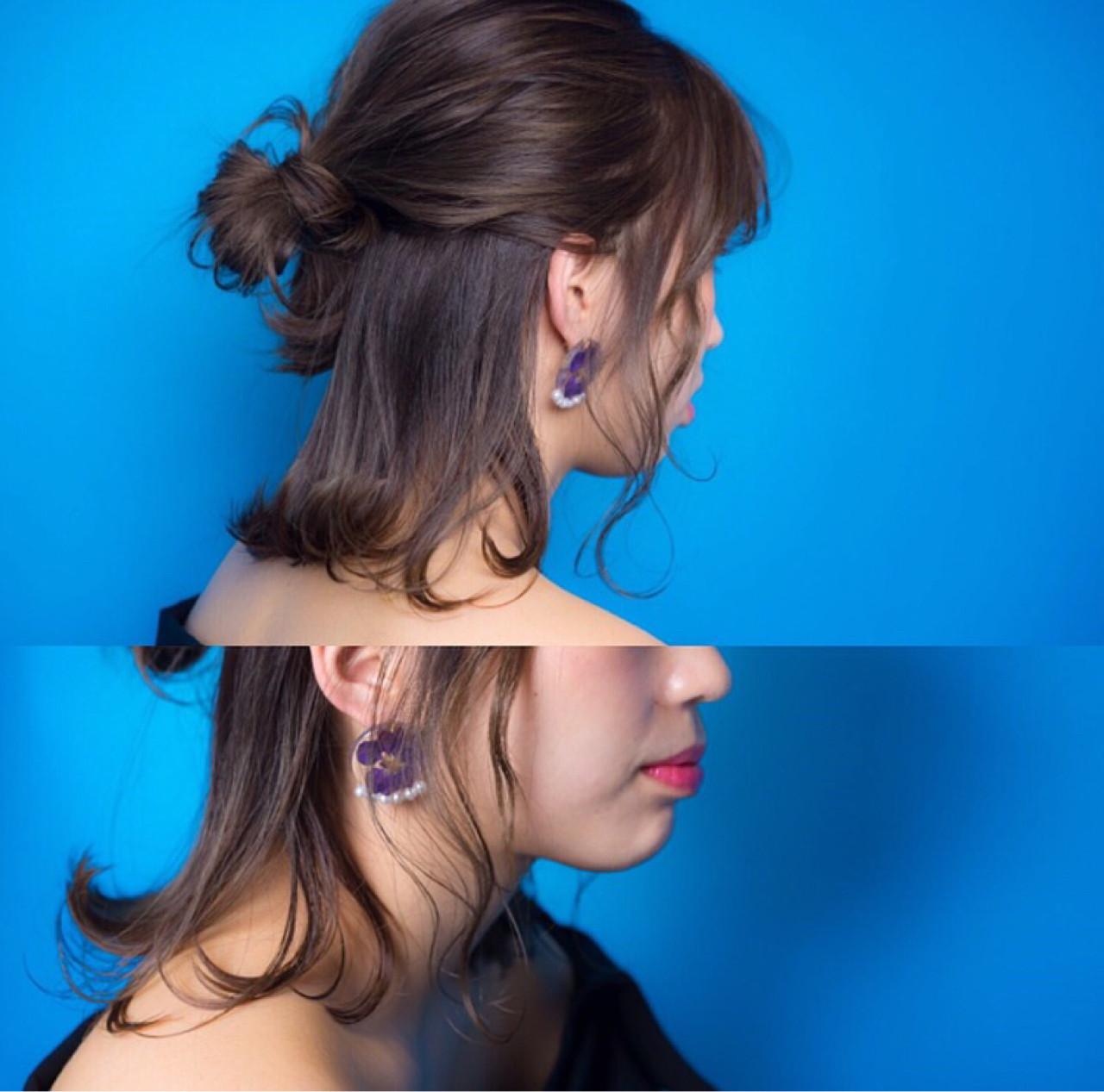 フェミニン イルミナカラー ボブ ヘアアレンジ ヘアスタイルや髪型の写真・画像