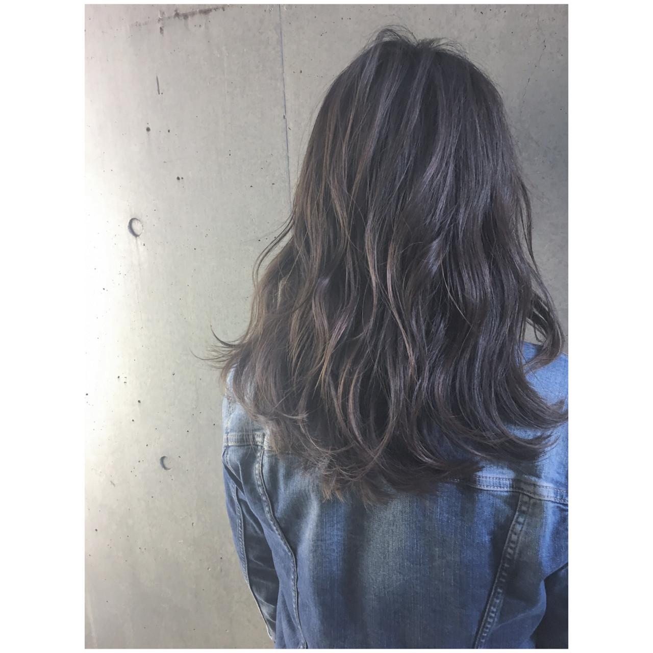 かっこいい パーマ セミロング グラデーションカラー ヘアスタイルや髪型の写真・画像