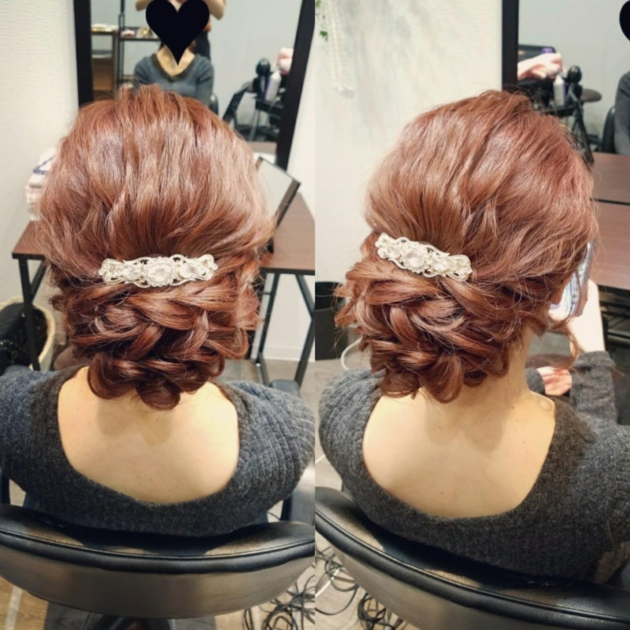 結婚式 エレガント ヘアアレンジ ロング ヘアスタイルや髪型の写真・画像