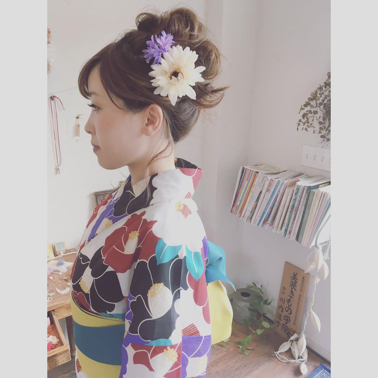 お団子 お祭り 花火大会 フェミニン ヘアスタイルや髪型の写真・画像
