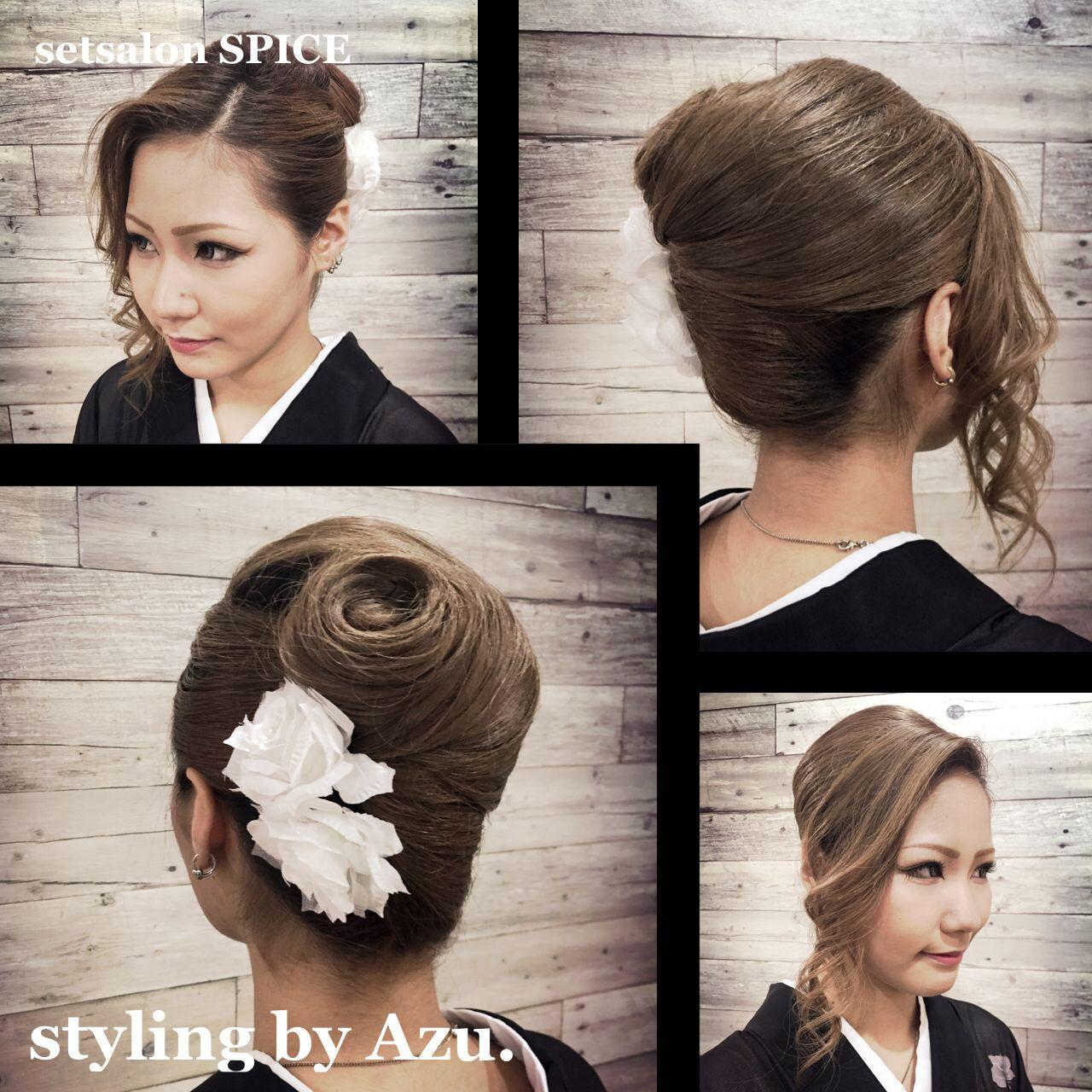 前髪がポイント!夜会巻きのアレンジまとめ♪初心者でも簡単にできるコツ stylist.azuazu