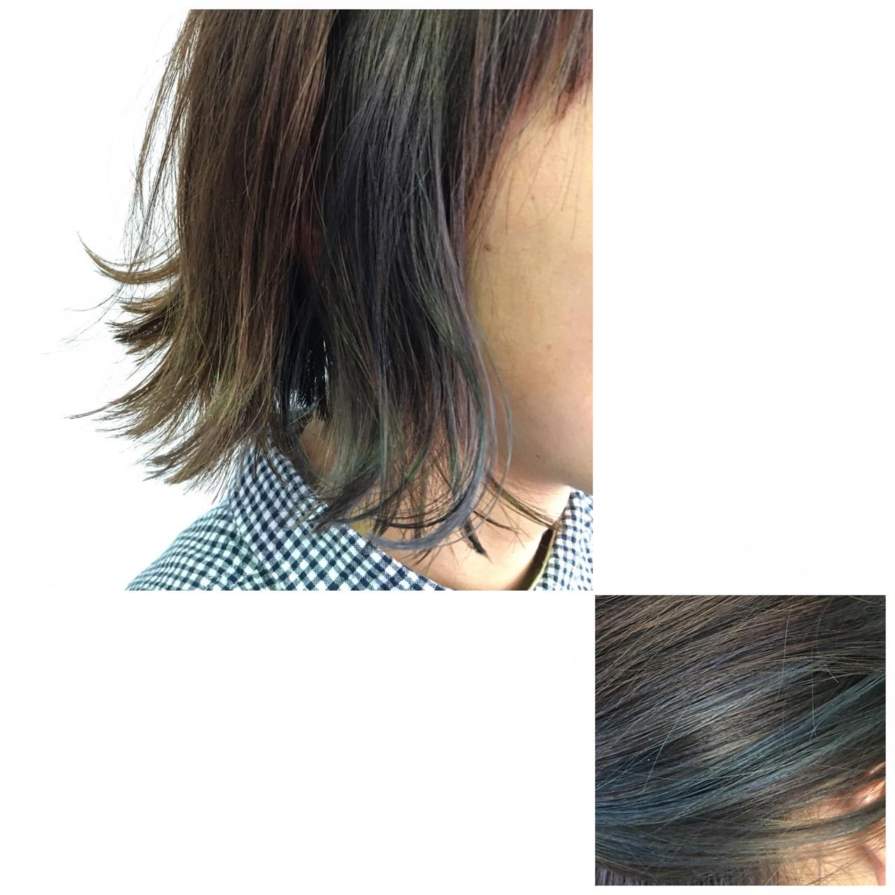 オン眉 ボブ ストリート ブルーアッシュ ヘアスタイルや髪型の写真・画像