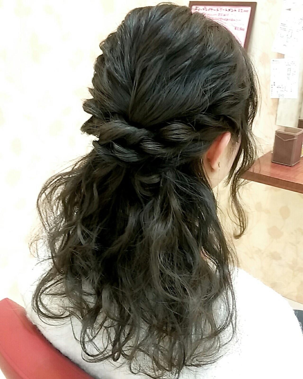 セミロング ガーリー ゆるふわ 結婚式 ヘアスタイルや髪型の写真・画像
