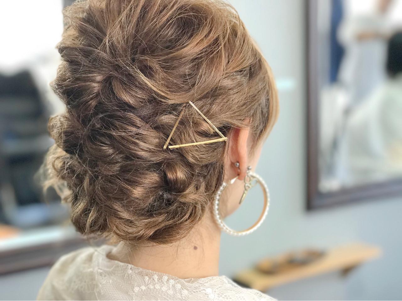 ミディアム ヘアアレンジ ゆるふわ フェミニン ヘアスタイルや髪型の写真・画像