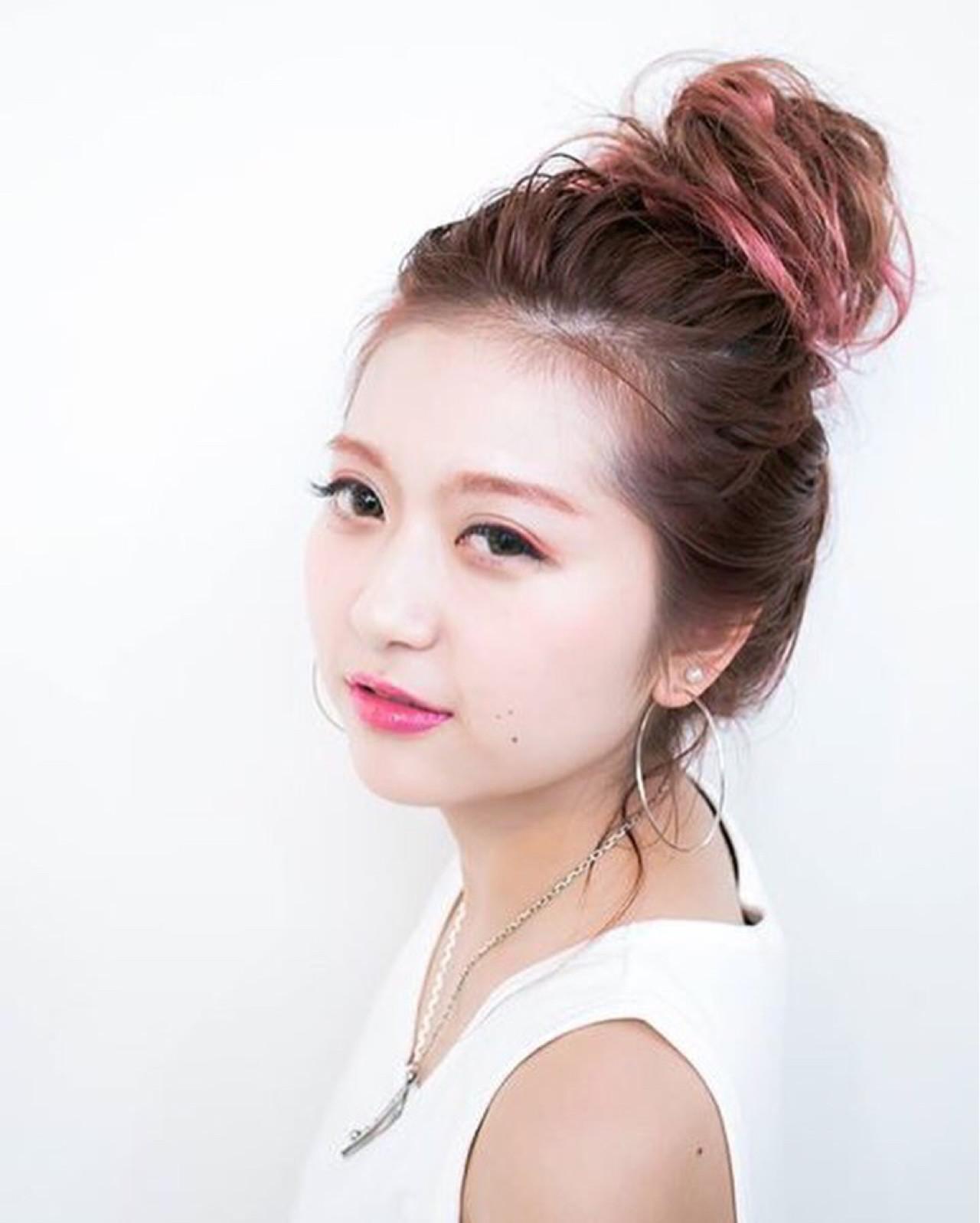 ヘアアレンジ ロング お団子 夏 ヘアスタイルや髪型の写真・画像