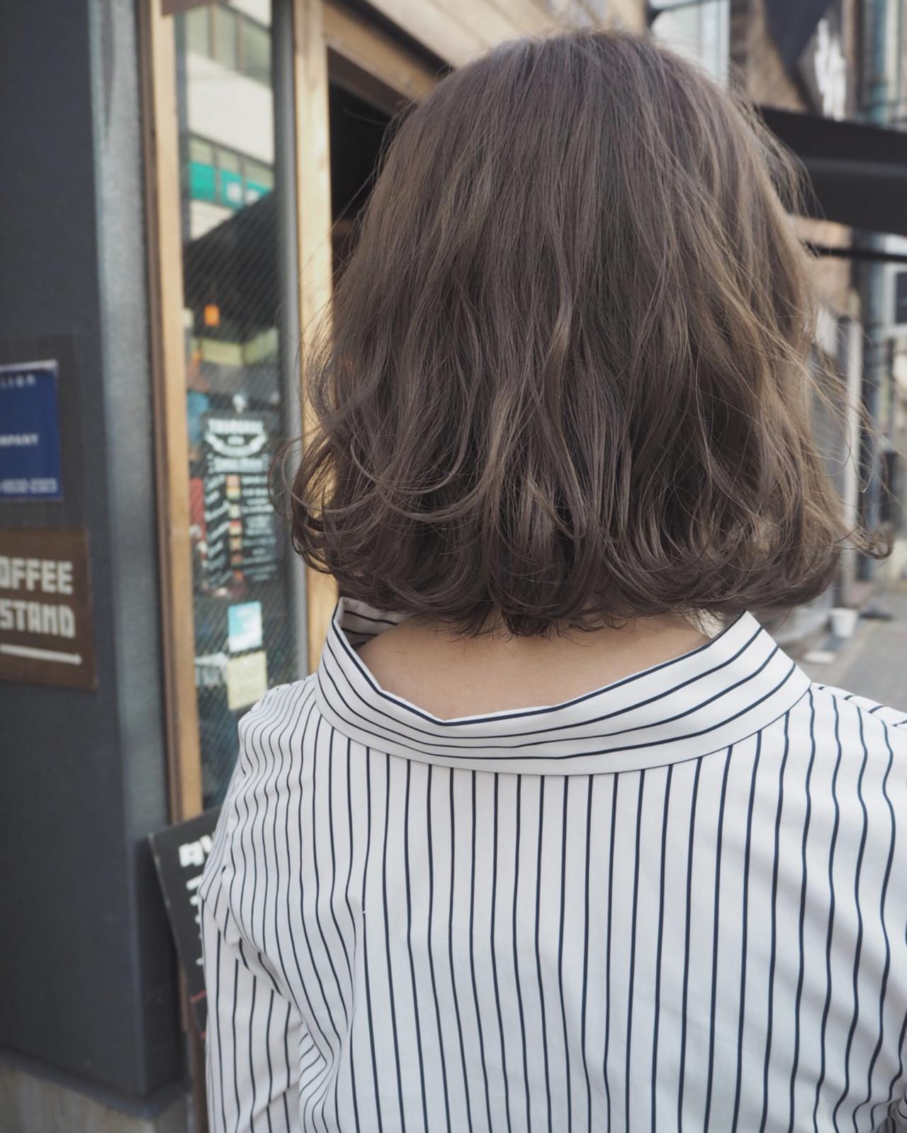 パーマ リラックス ボブ ストリート ヘアスタイルや髪型の写真・画像