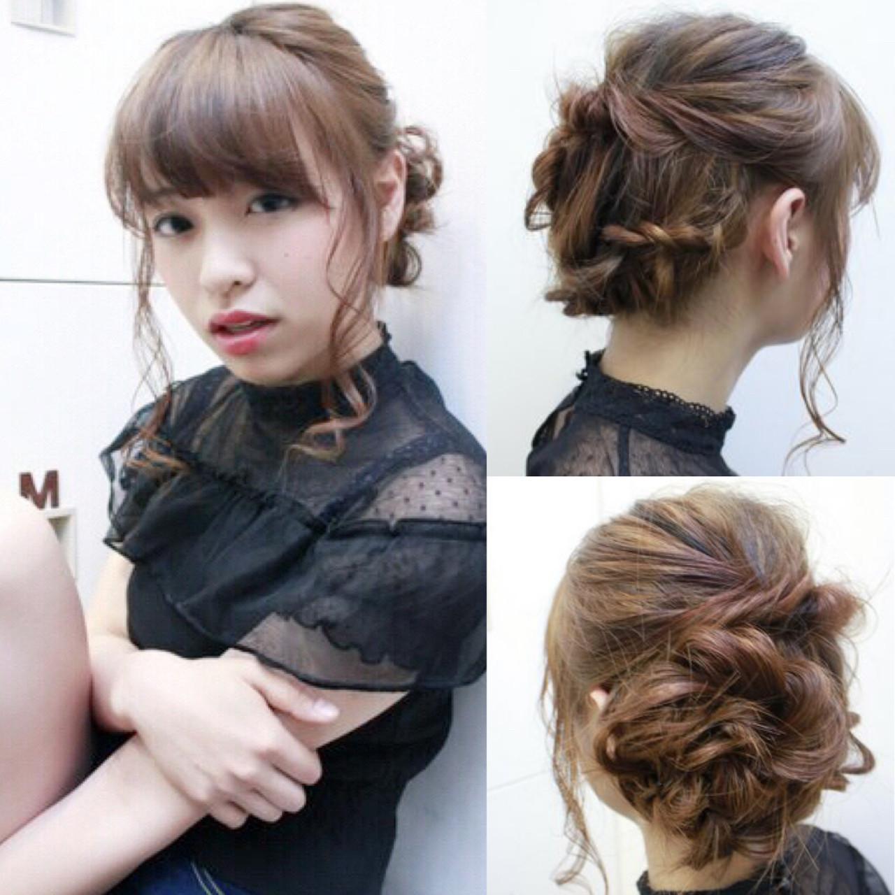 セミロング 三つ編み パーティ ヘアアレンジ ヘアスタイルや髪型の写真・画像