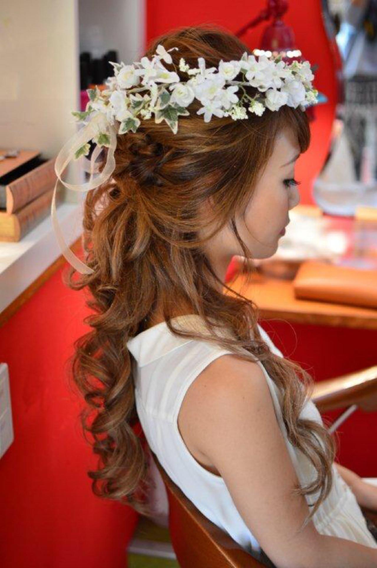 ヘアアレンジ 結婚式 ブライダル 花嫁 ヘアスタイルや髪型の写真・画像