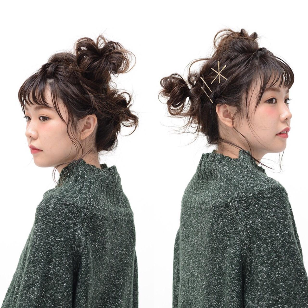 ミディアム お団子 ヘアアレンジ 愛され ヘアスタイルや髪型の写真・画像