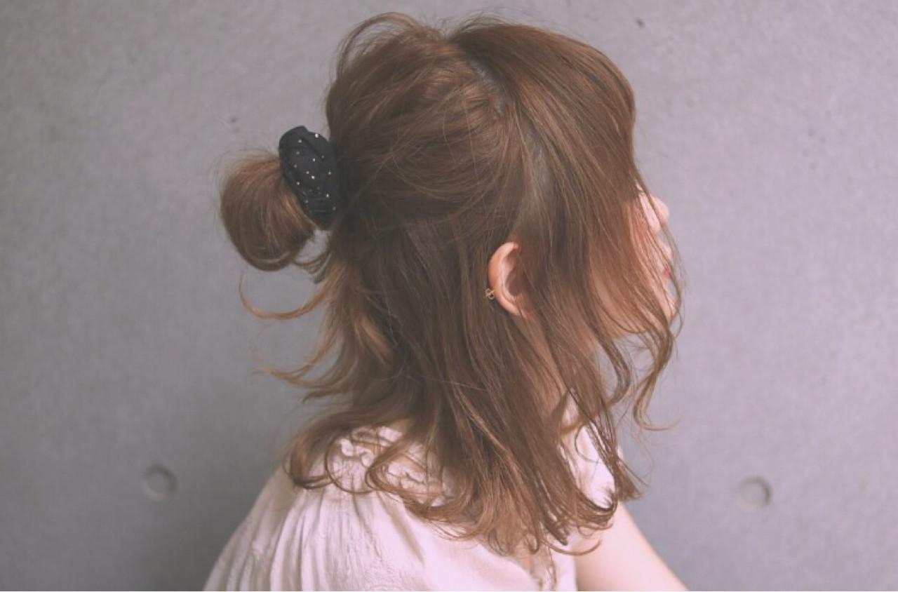 ハーフアップ ミディアム ヘアアレンジ ゆるふわ ヘアスタイルや髪型の写真・画像