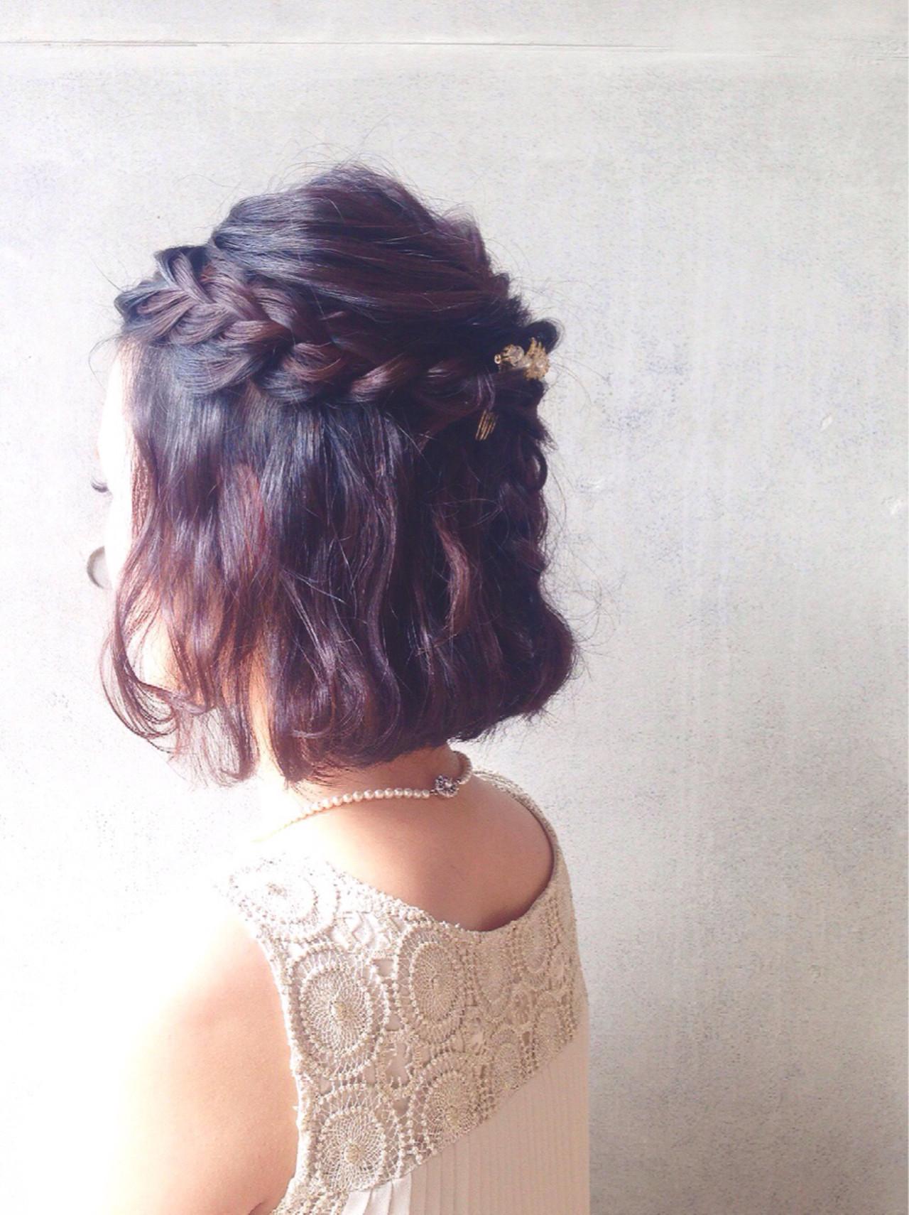 【結婚式髪型】ボブでもできる華やかアレンジ♪自分でもできるヘアセット 田渕裕紀