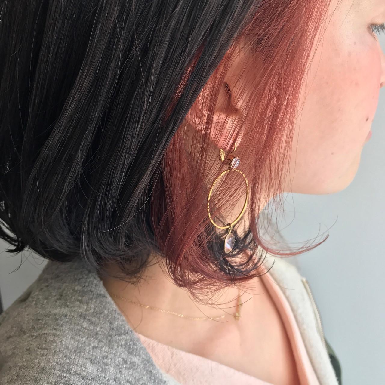 ガーリー 黒髪 ベリーピンク ボブ ヘアスタイルや髪型の写真・画像