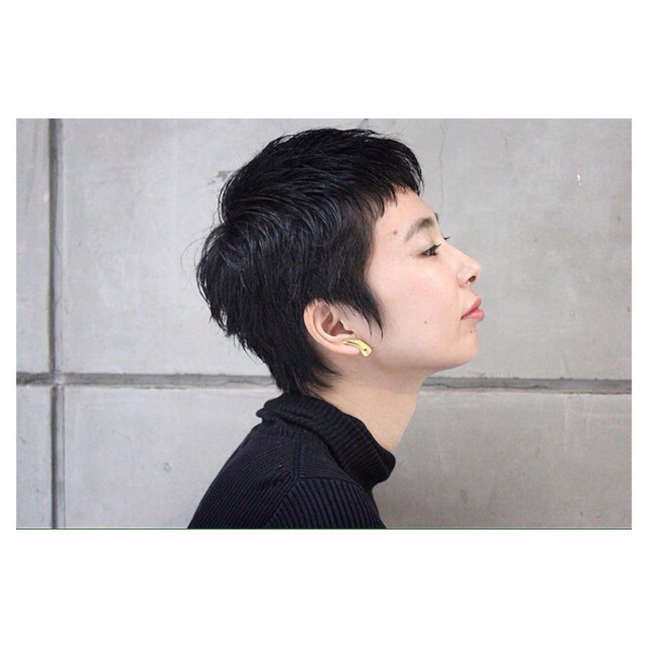 ナチュラル 黒髪 ショート 卵型 ヘアスタイルや髪型の写真・画像