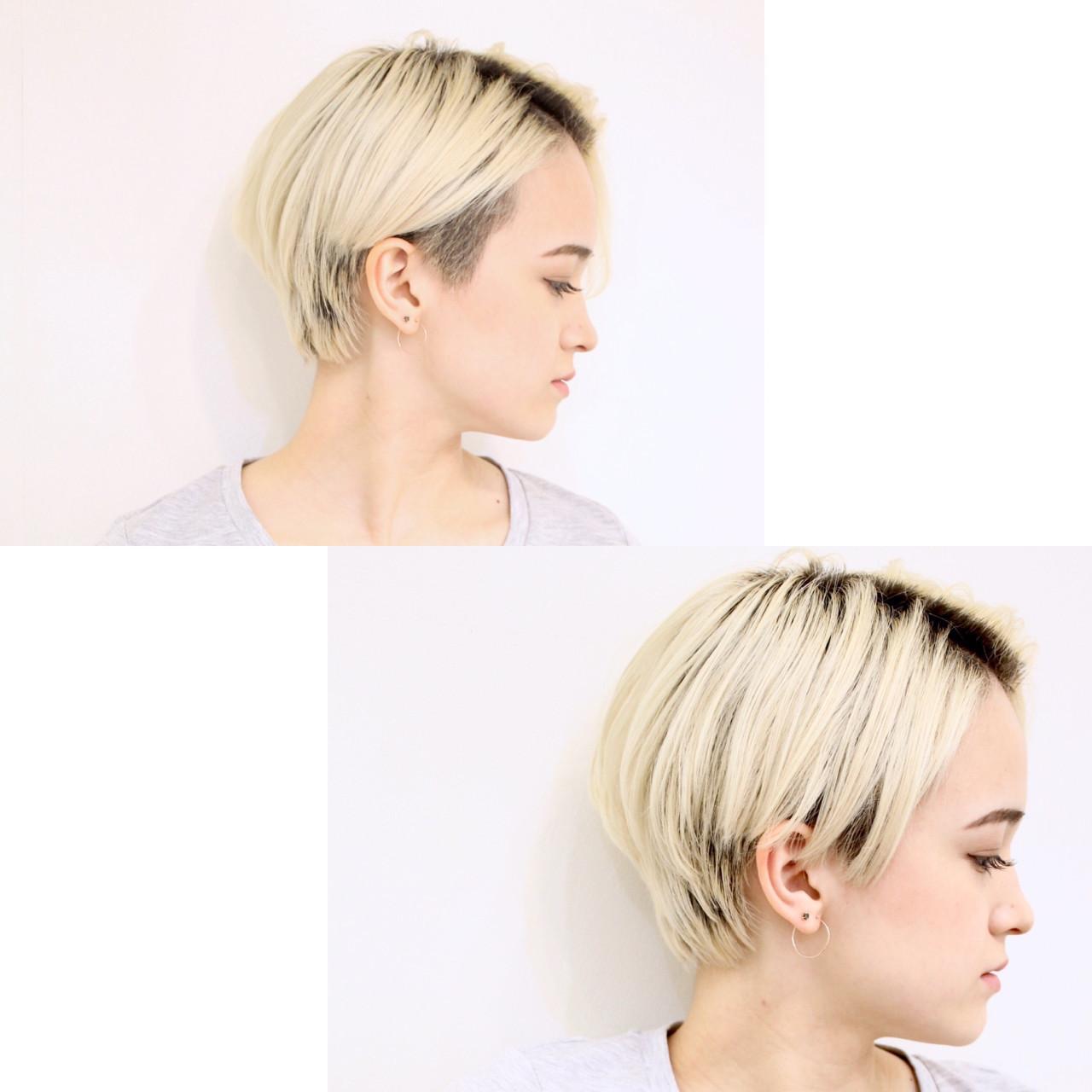 ショート 坊主 大人女子 ストレート ヘアスタイルや髪型の写真・画像