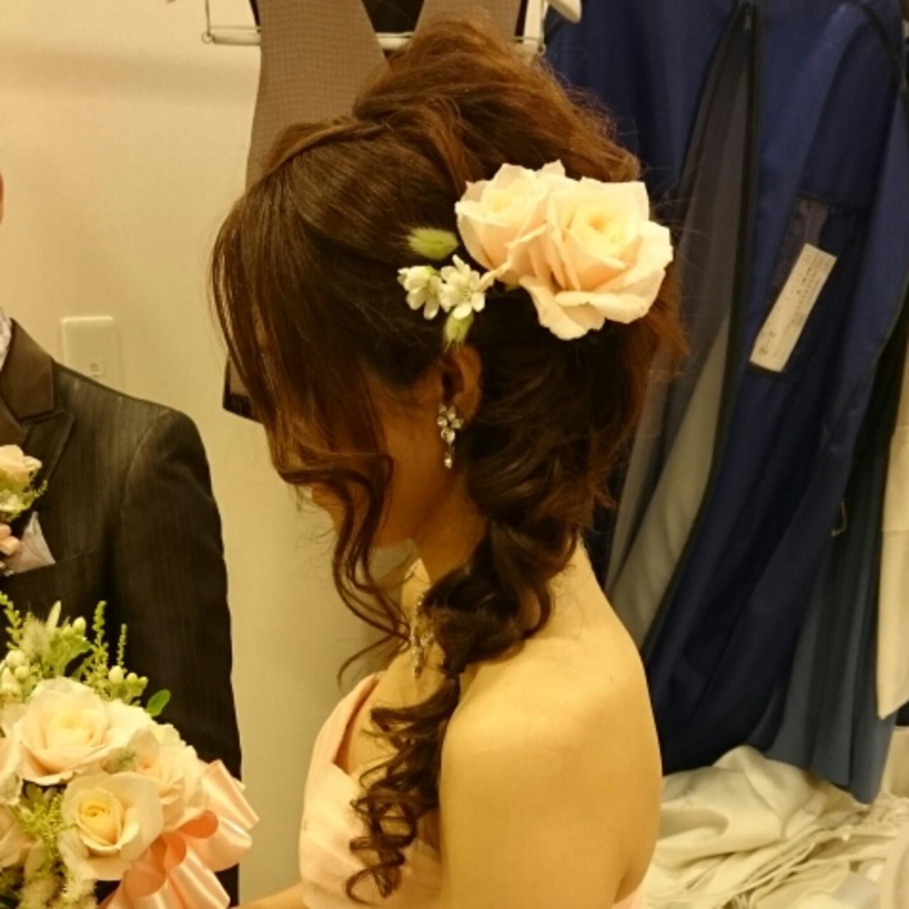 ミディアム 結婚式 ヘアアレンジ ブライダル ヘアスタイルや髪型の写真・画像