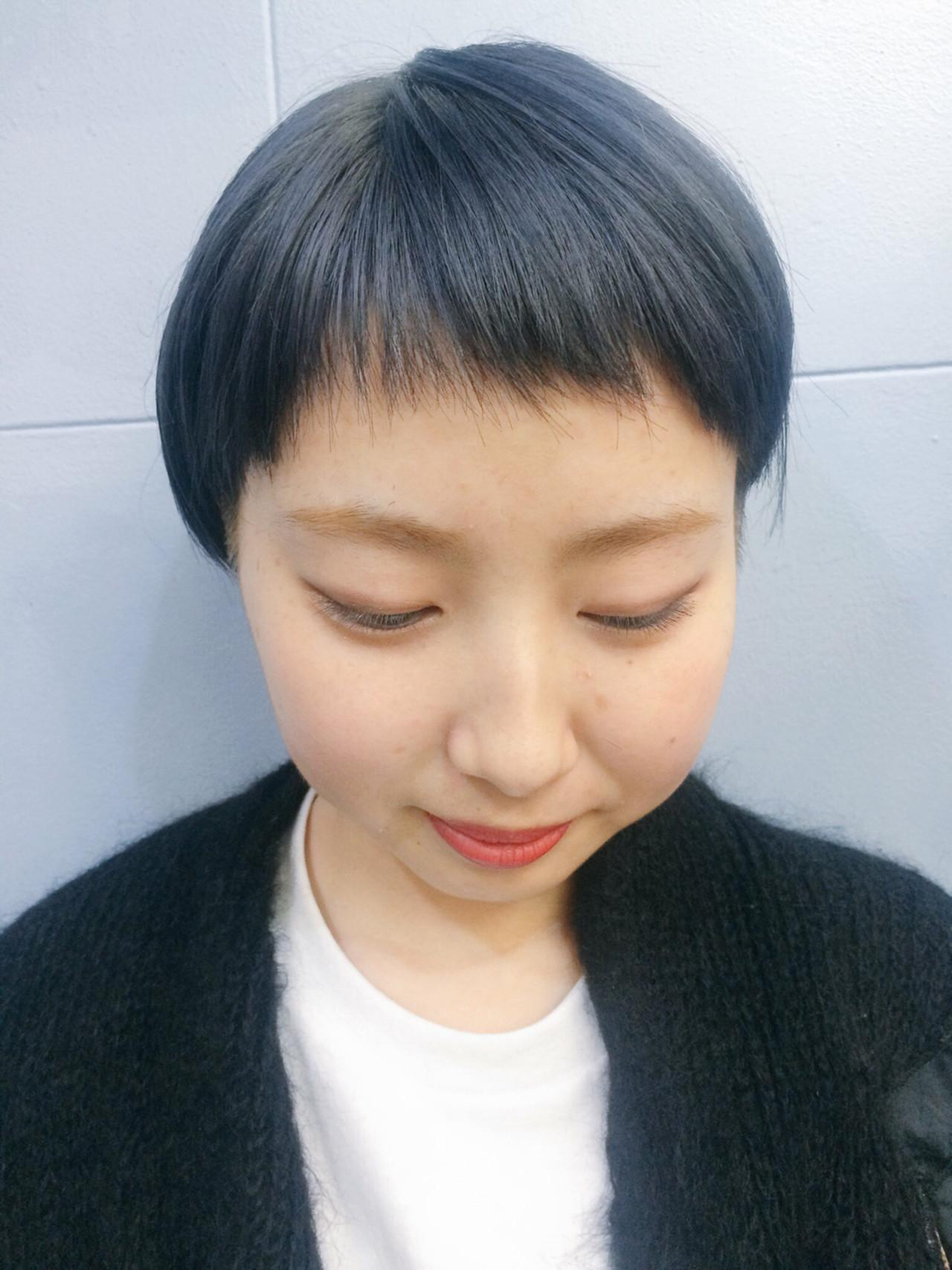 ストレート ブルーアッシュ ベリーショート ストリート ヘアスタイルや髪型の写真・画像