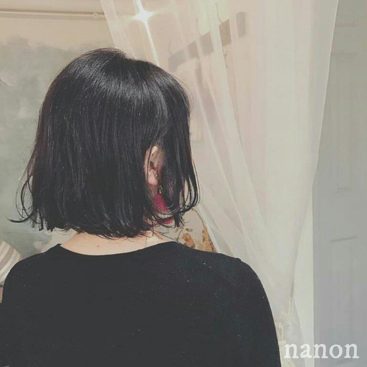 色気 ボブ 黒髪 ウェットヘア ヘアスタイルや髪型の写真・画像