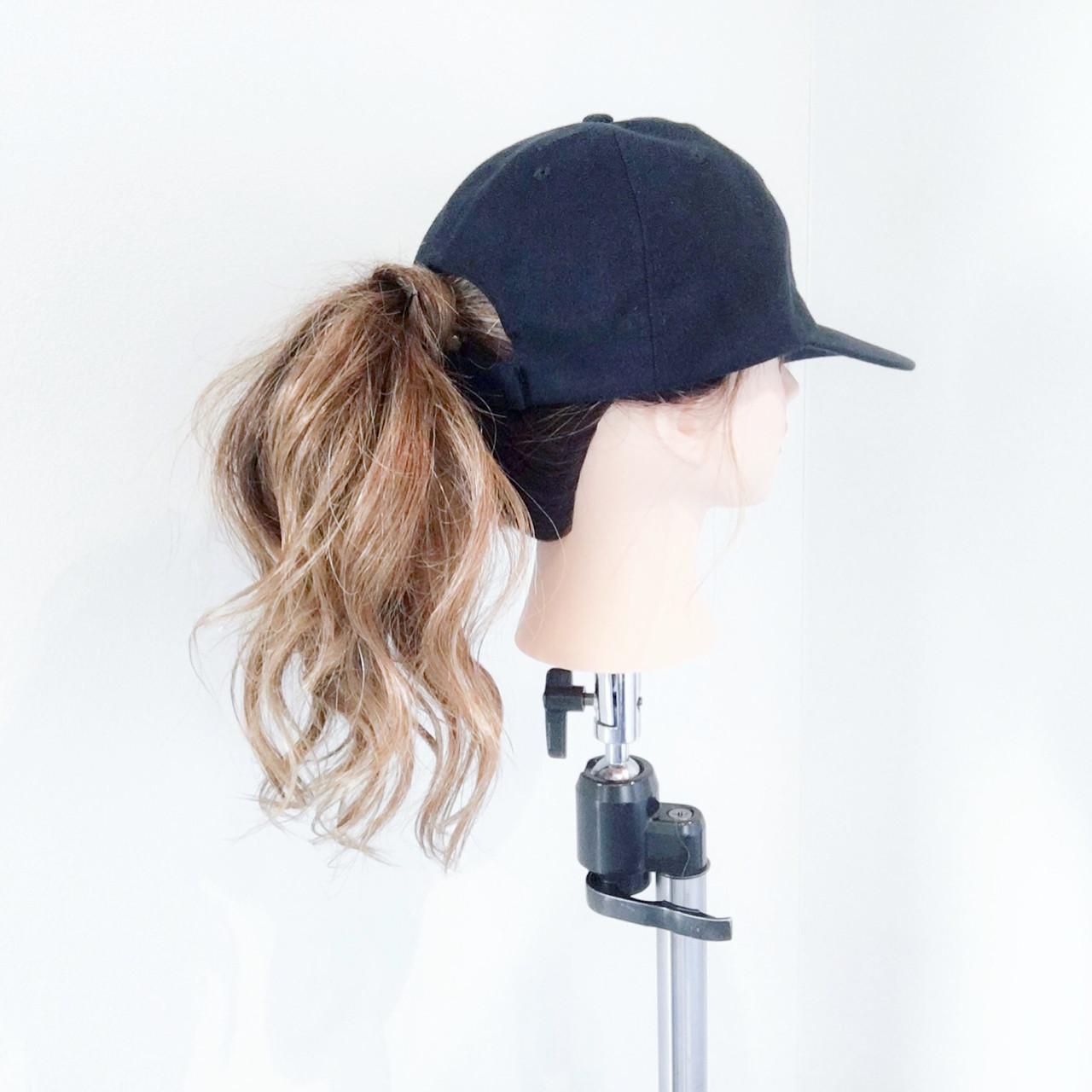 ヘアアレンジ セミロング ポニーテール ストリート ヘアスタイルや髪型の写真・画像