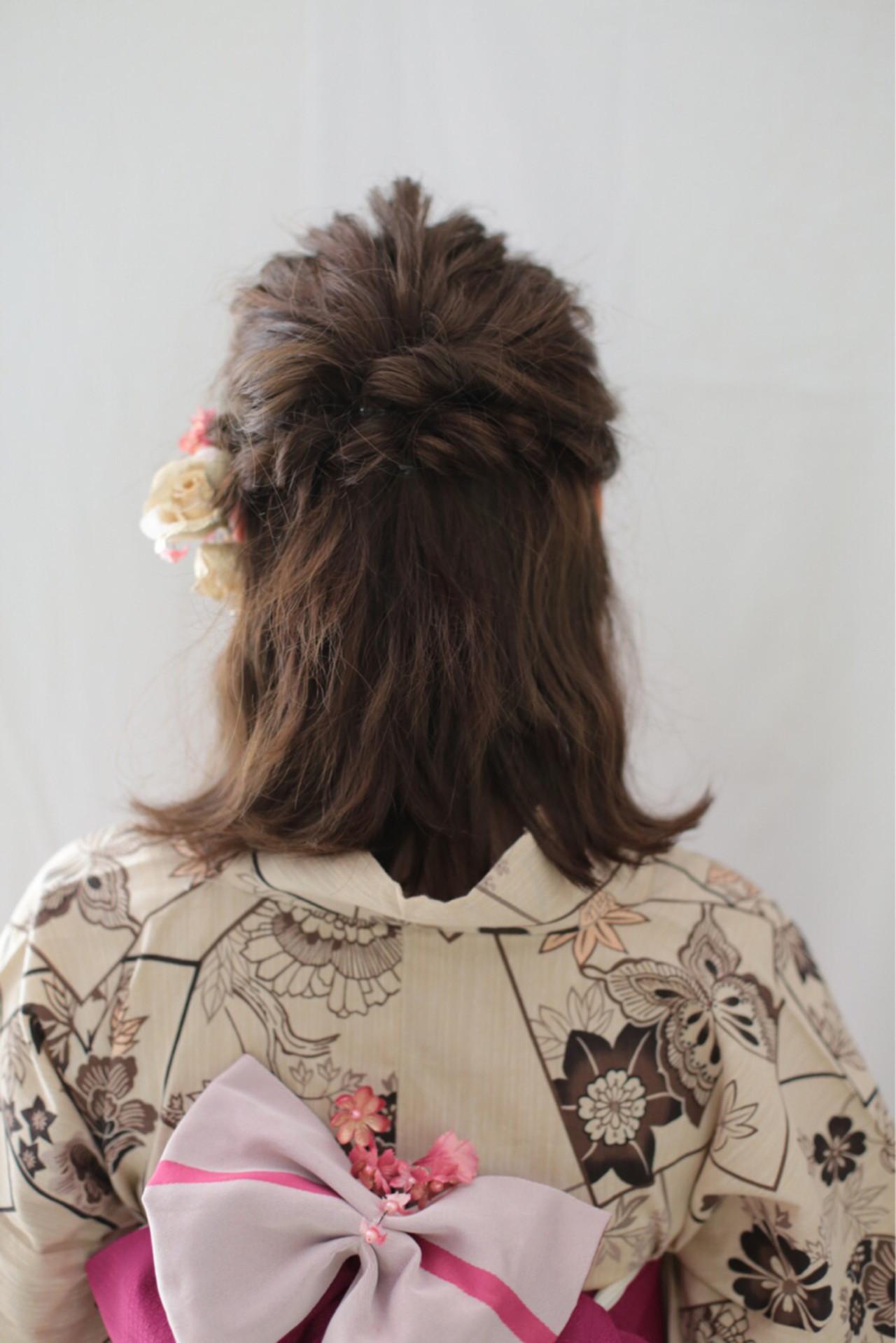 くるりんぱ 外ハネ 和装 レトロ ヘアスタイルや髪型の写真・画像