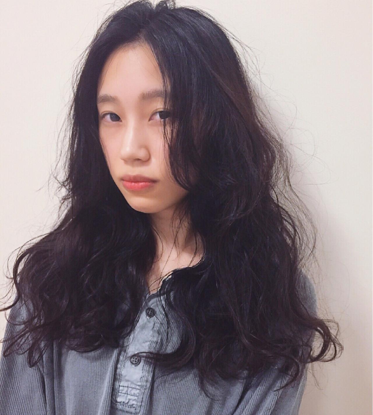 黒髪 ストリート ロング ゆるふわ ヘアスタイルや髪型の写真・画像