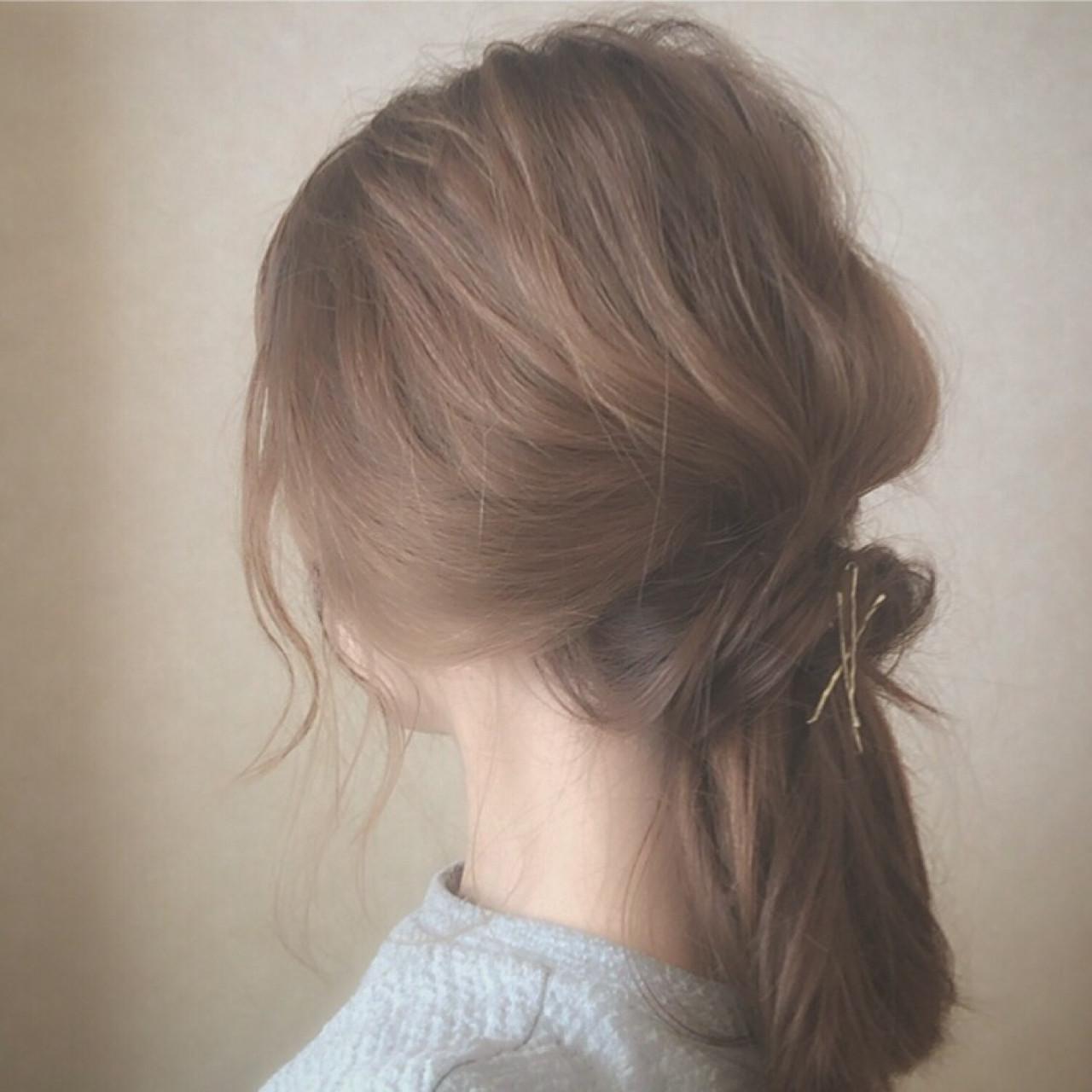 セミロングは、まとめ髪でバージョンアップ!マンネリにならないまとめ髪特集 大西未紗