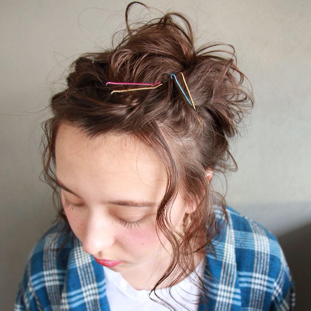 ヘアアレンジ ヘアピン ナチュラル 簡単ヘアアレンジ ヘアスタイルや髪型の写真・画像