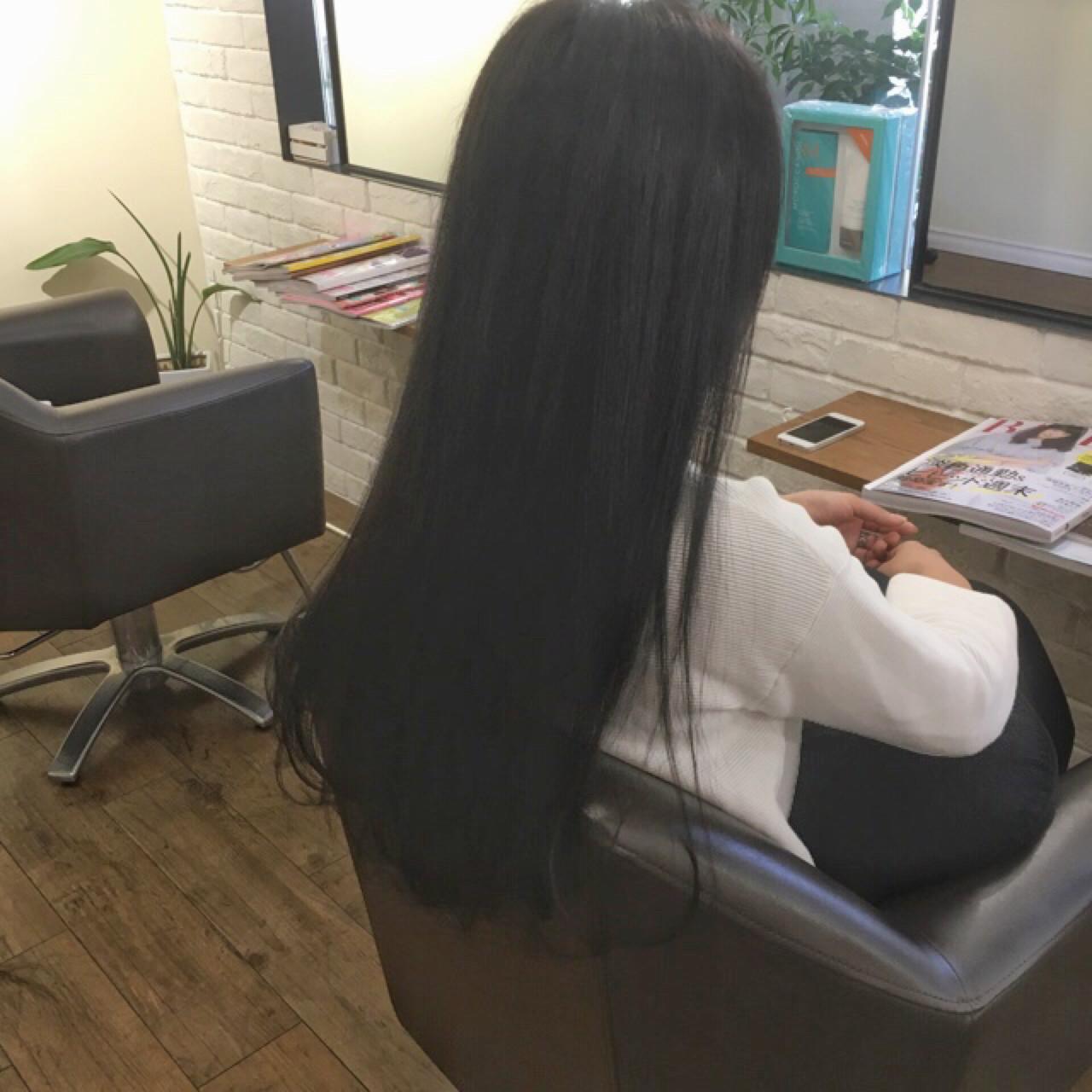 ナチュラル 黒髪 ロング アッシュ ヘアスタイルや髪型の写真・画像