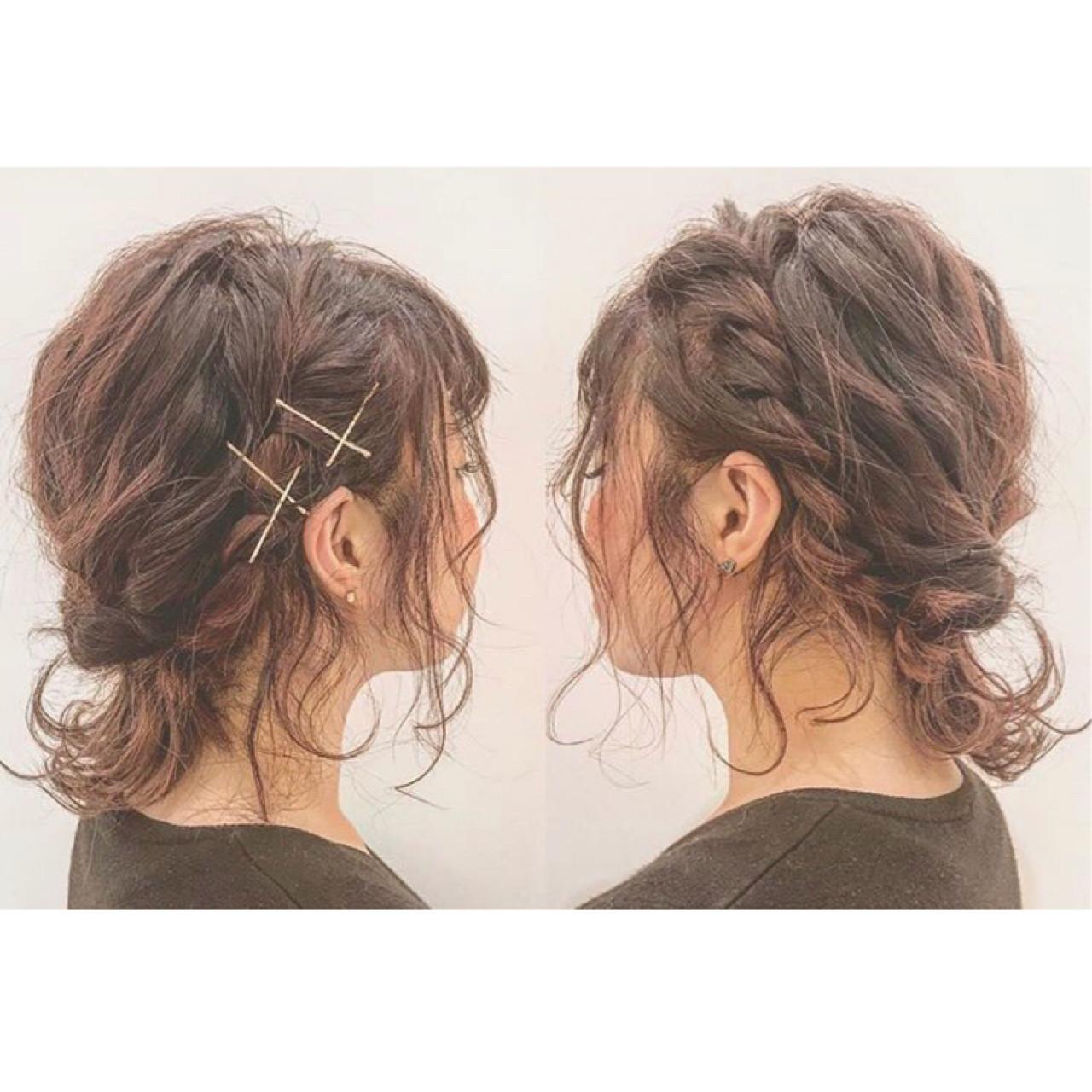 ヘアアレンジ ミディアム ガーリー ヘアスタイルや髪型の写真・画像